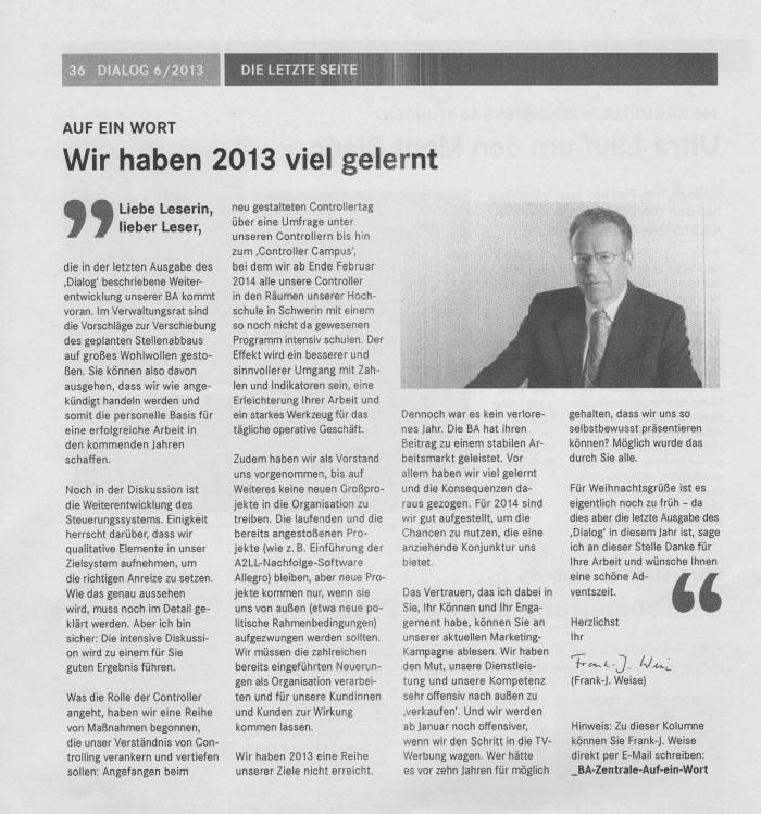"""Aus: """"Dialog"""" Mitarbeiterzeitschrift 06/2013"""